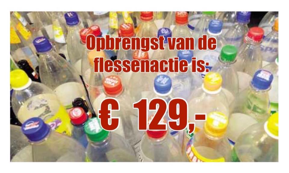 Opbrengst flessenactie € 129,-