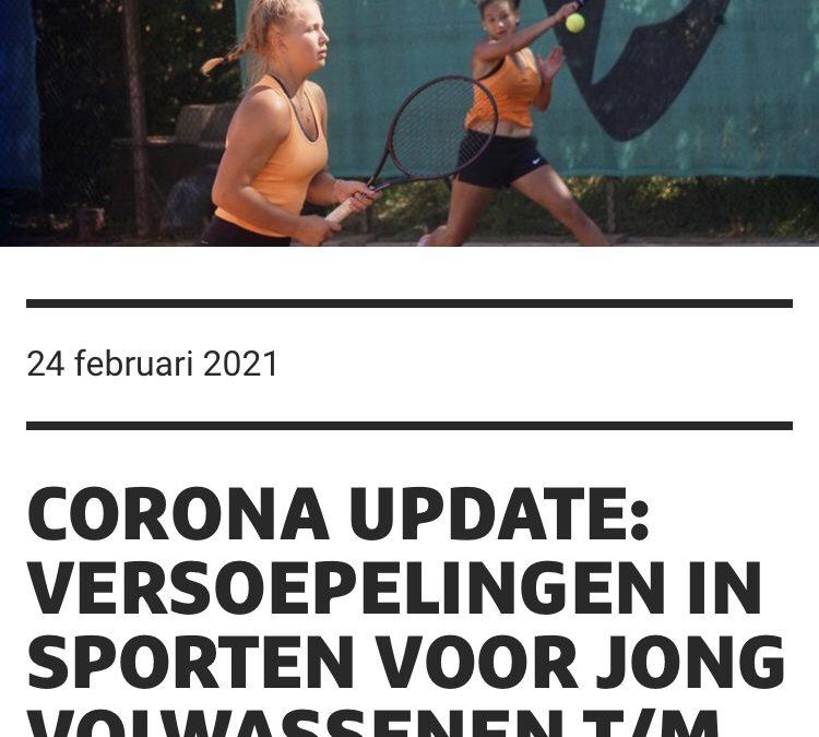 Corona update: versoepelingen in sporten voor jong volwassenen t/m 26 jaar
