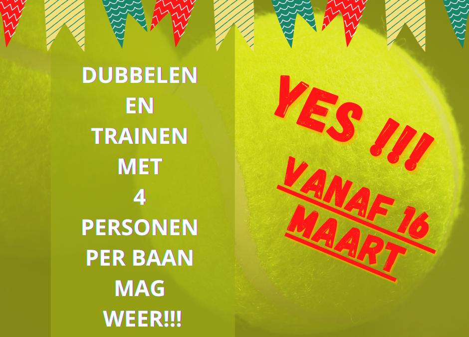Vanaf 16 maart: dubbelen en trainen met 4 personen mag weer!