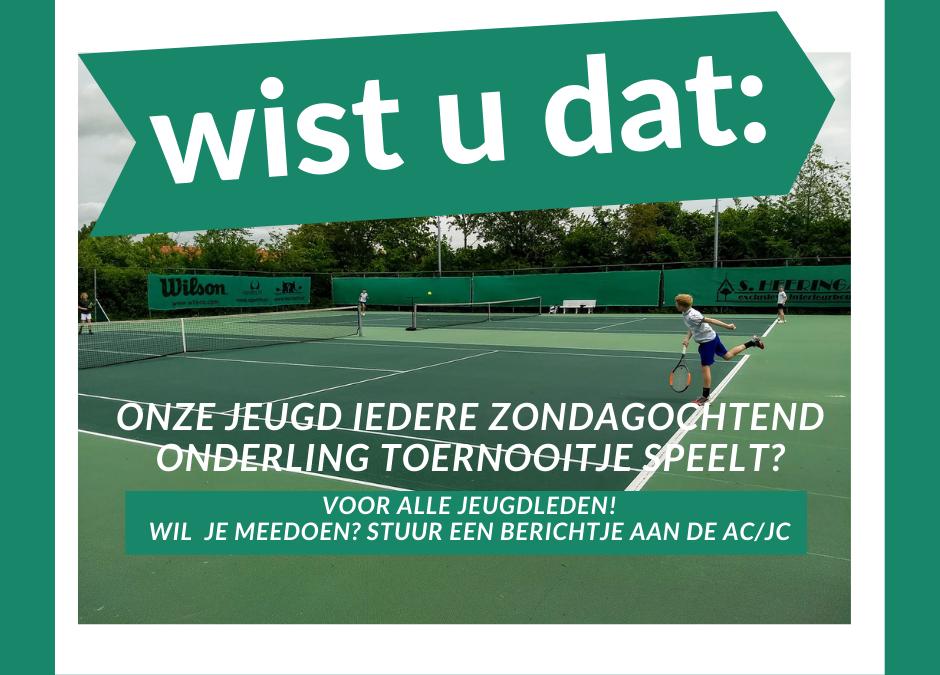 Iedere zondag tennis voor de jeugd